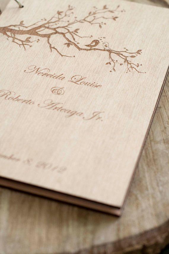 Custom Wedding guest book wood rustic wedding