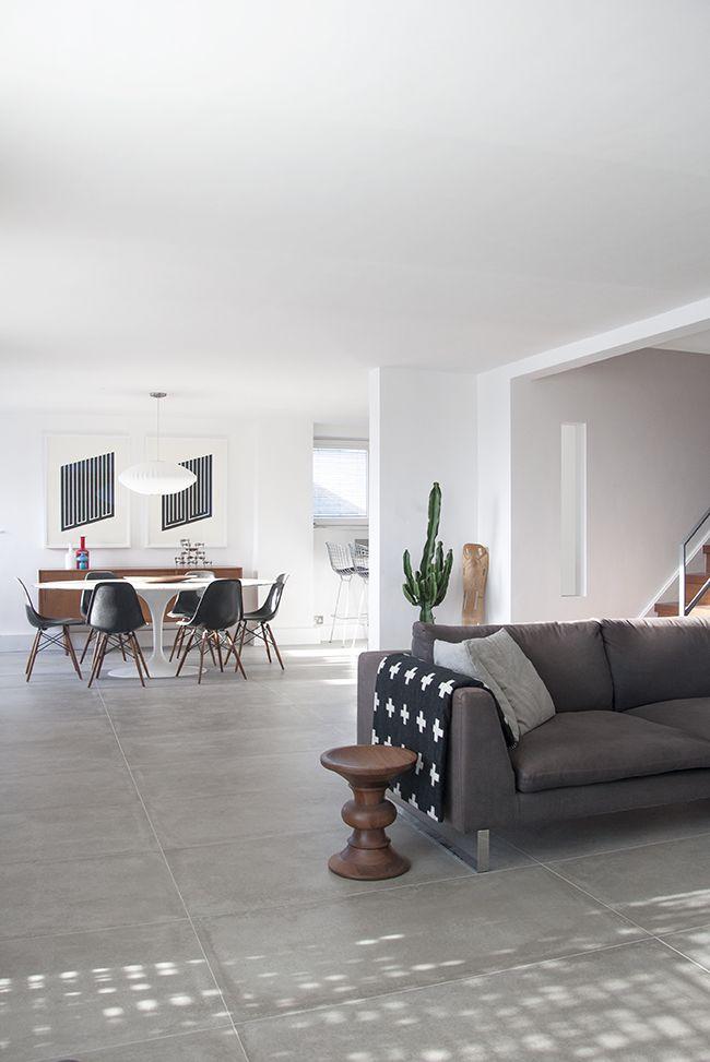 Living Room Big Light Grey Tiles