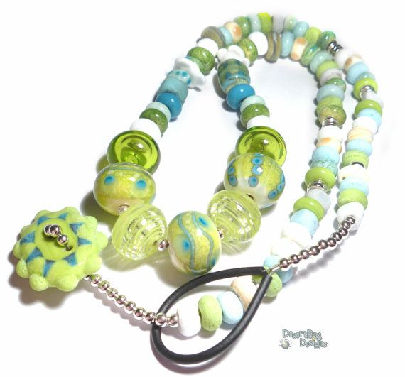 LAGUNA Handmade NECKLACE Lampwork Beads Lime Green Turquoise Aqua Blue Ivory WHite Cool Colors  Gorgeous Artist Made via Etsy