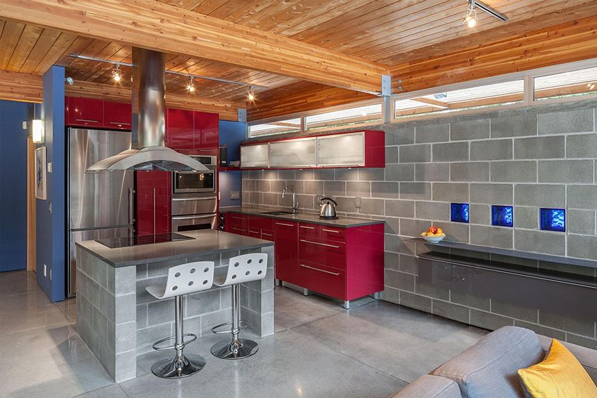 Kitchen With Red Cabinets Home Ideas Red Accents Cinder Block