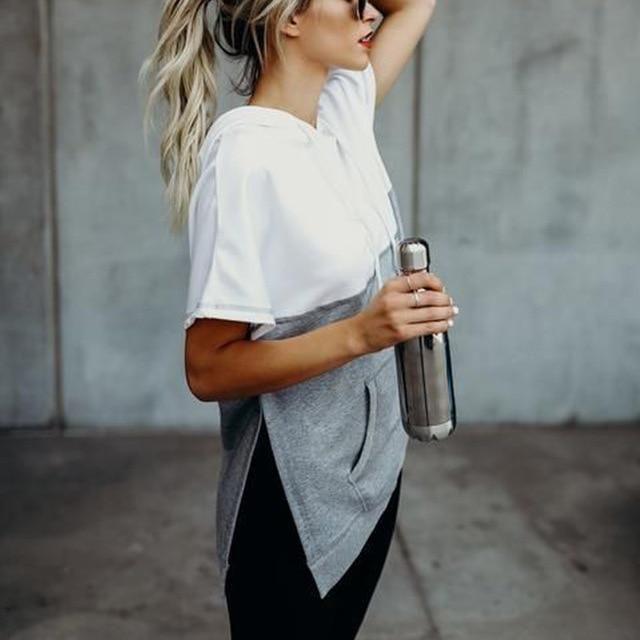 2019 WomenS Hooded T-Shirts Black Gray Color Pocket Hooded Women Short Sleeve Summer Tops Vetement Femme Tshirt