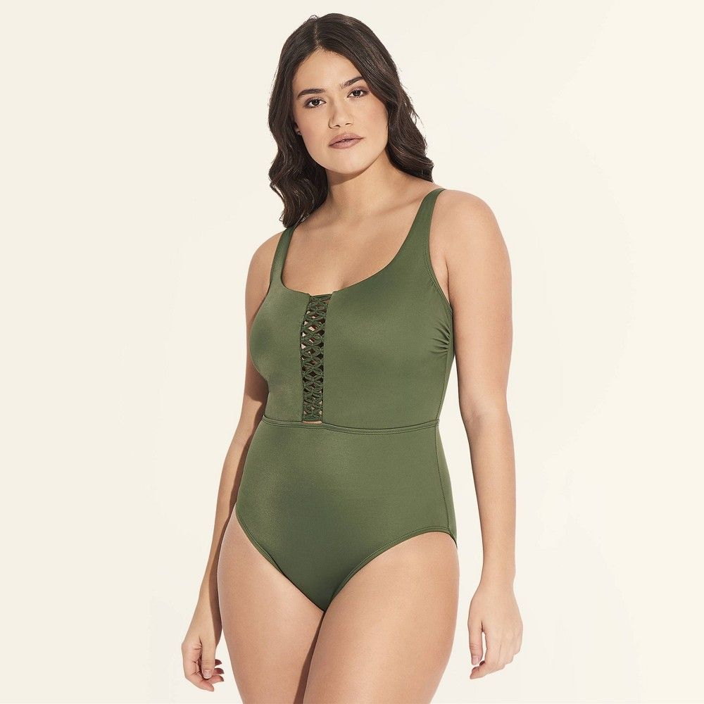 8a70a58f39ee9 Women's Slimming Control Macrame One Piece Swimsuit - Beach Betty By Miracle  Brands Olive XL, Green