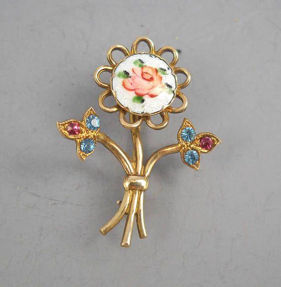 Single Flower Gold Tone Shaped Enamel And Rhinestone Lapel Pin