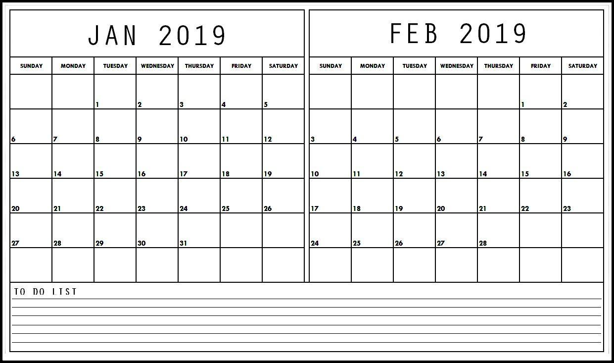Printable January February 2019 Calendar # ...