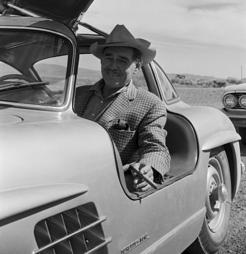 Clark Gable at the wheel of his Mercedes Benz 300SL Gullwing.