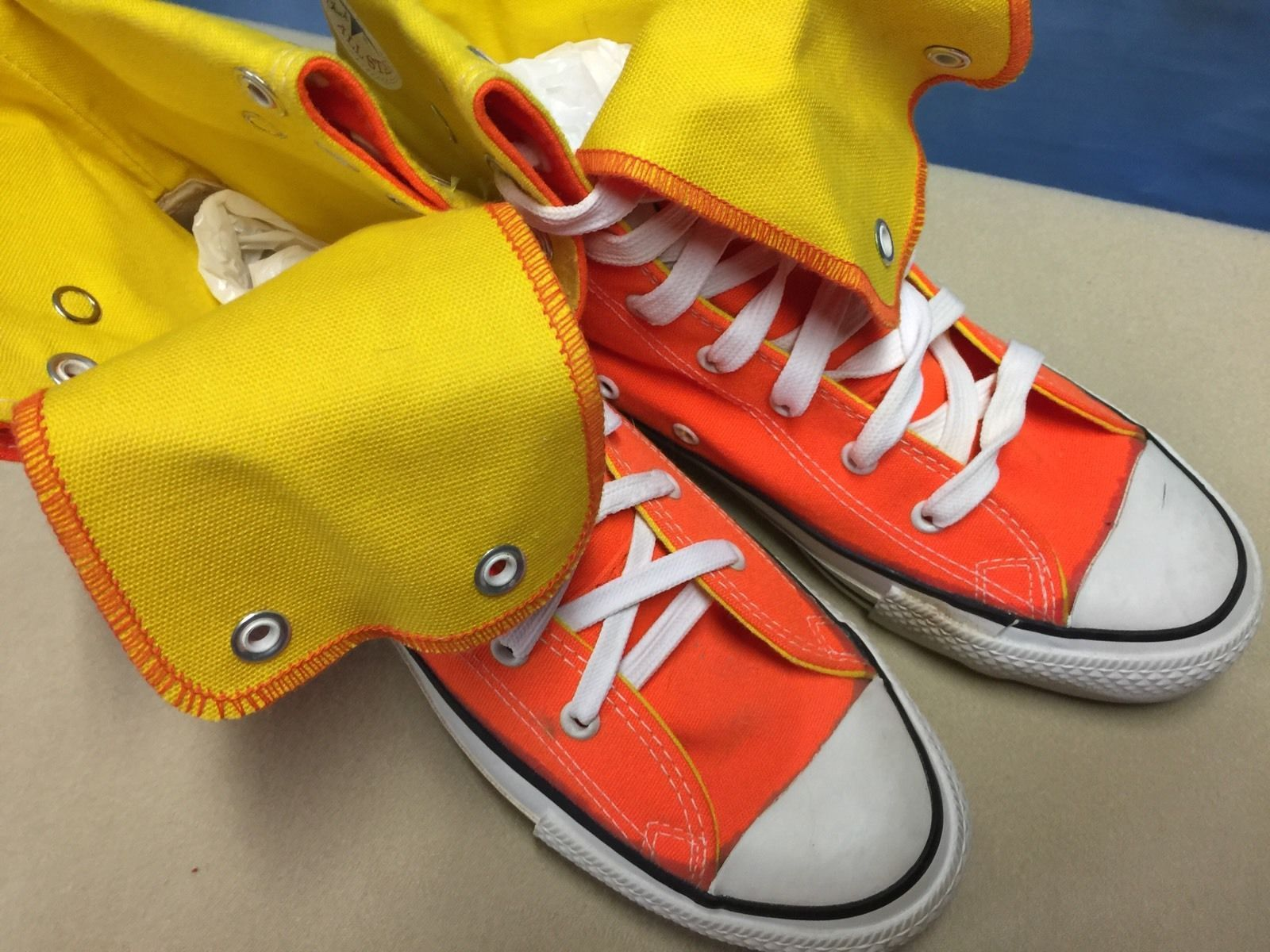 12ea41b449e9 Vintage 80s 90s CONVERSE Orange Yellow Canvas High Top Sneakers Sz 6.5 USA  MADE! in Clothing
