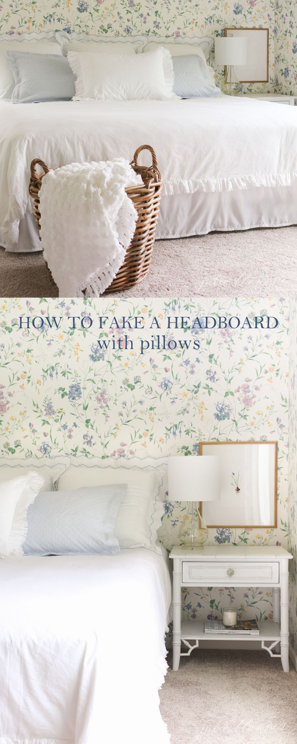 How to Fake a Headboard with Pillows - easy home decor - decorating ...