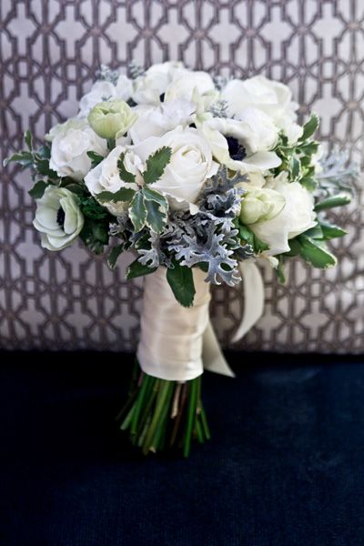 anemones roses white silver green bouquet from freed photography