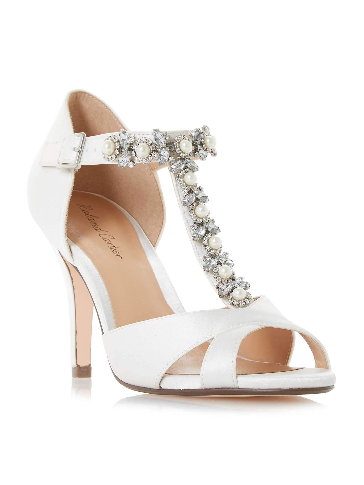 0761b9ba680 Roland Cartier Maddalyn Embellished T-bar Court Shoes - House of ...