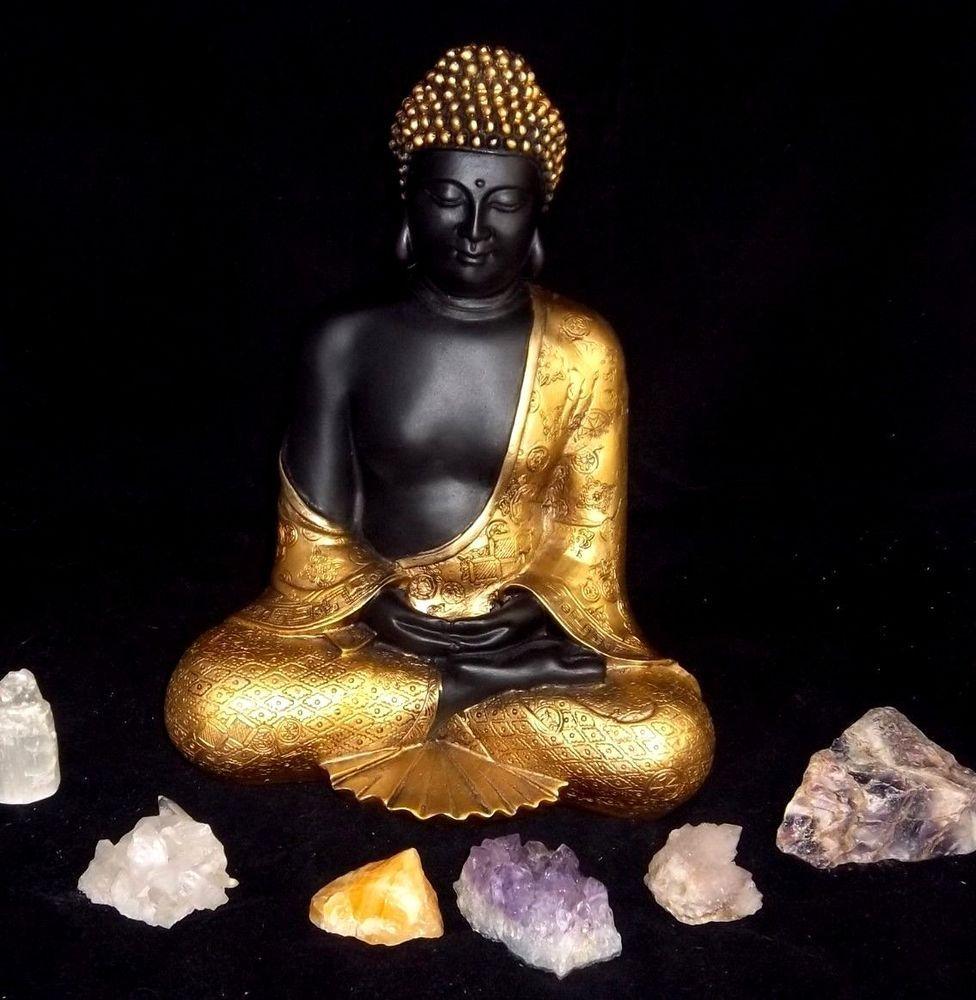 Sitting Buddha 125 Gold Black Garden Zen Statue Sculpture Figure