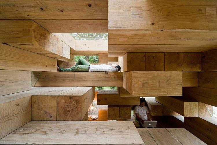 A eficiente casa de madeira empilhada.