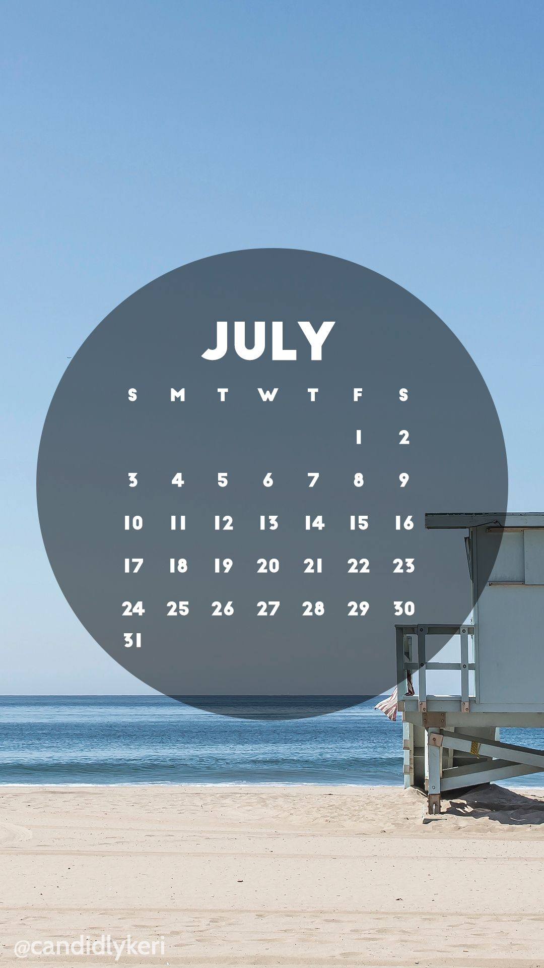 beach scene california lifeguard stand july 2016 calendar wallpaper free download for iphone android or desktop