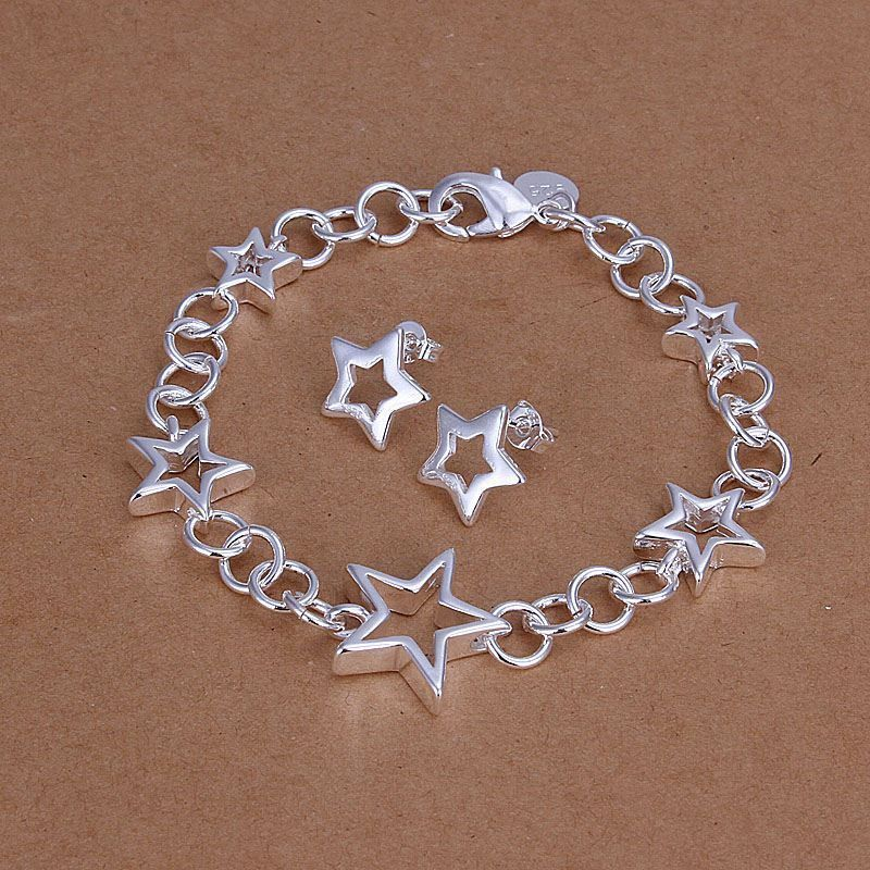 silver plated see star jewelry sets necklace bracelet bangle earring ring SMTS176