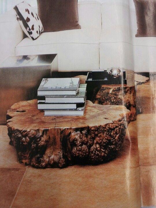 Double Log Coffee Table Garden