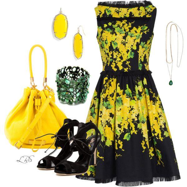 Yellow Floral & Black Fringe Dress