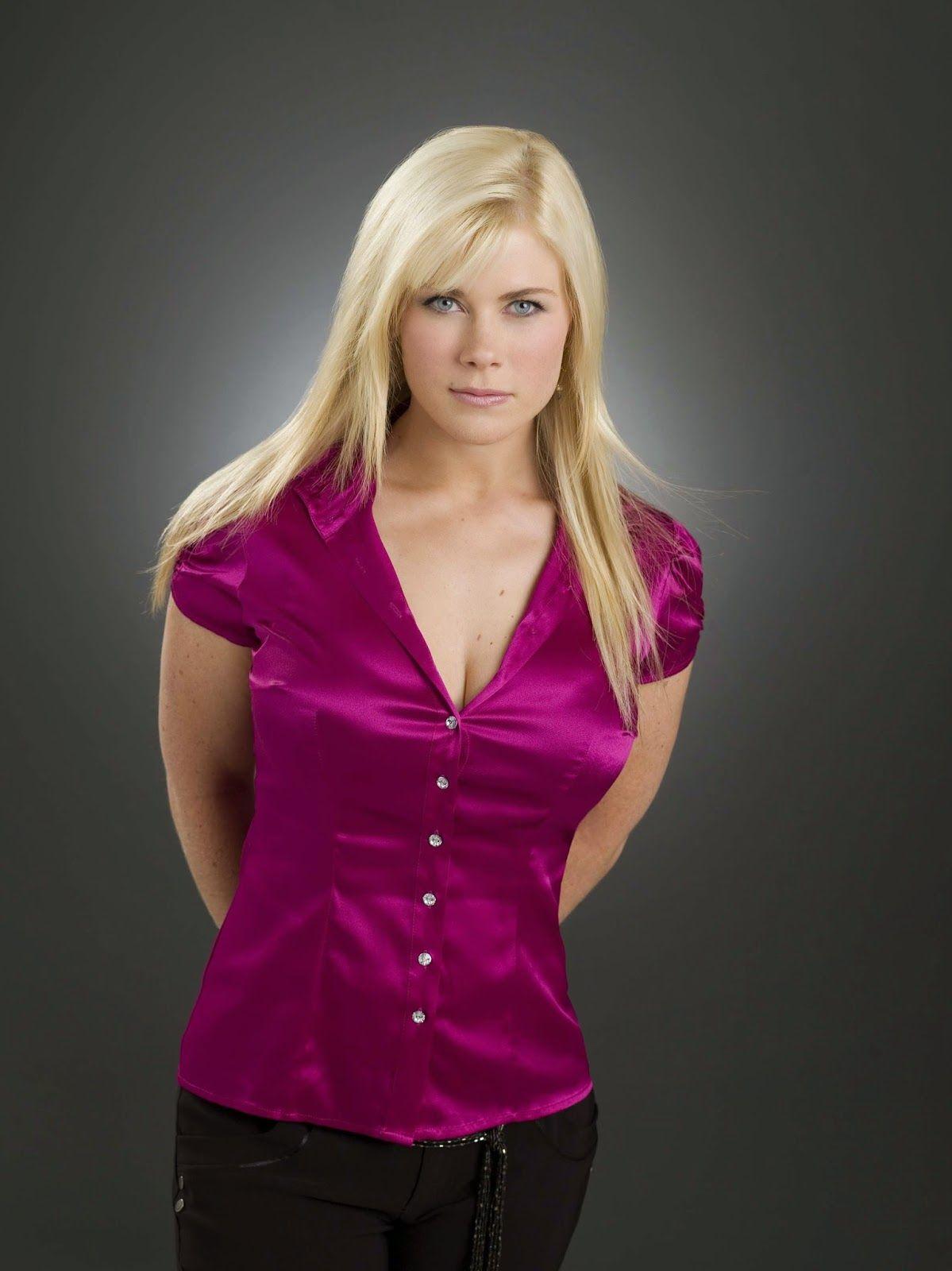 Alison Sweeney Nude pink satin blouse   satin blouses, satin shirt, pink satin