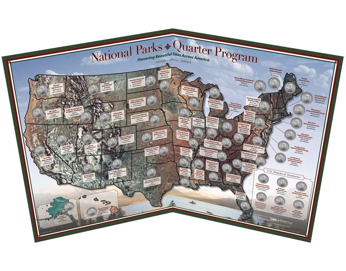 National Parks Quarter Map Coins - Us map for collecting quarters
