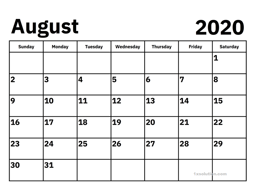 Free Printable August 2020 Calendar Excel Sheet Calendar In 2020 Calendar Template Excel Calendar 2020 Calendar Template