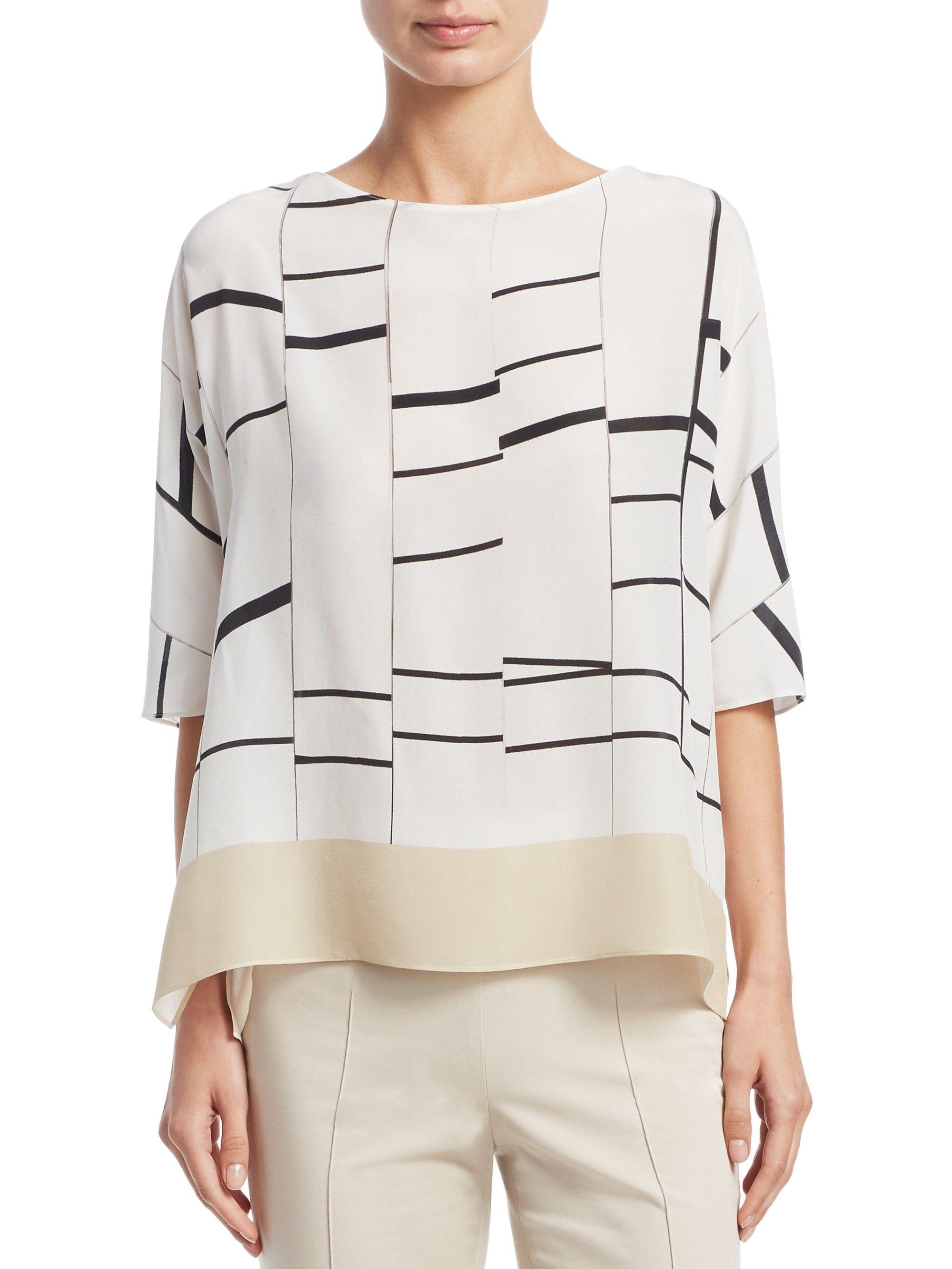 89dd2a3af Broken Stripe Silk Tunic Blouse by Akris | Products | Silk tunic ...
