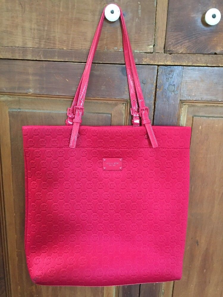Michael Kors Red Jet Set Synthetic Padded Fabric Logo Travel Tote Shoulder  Bag 81fa9c73a4b13