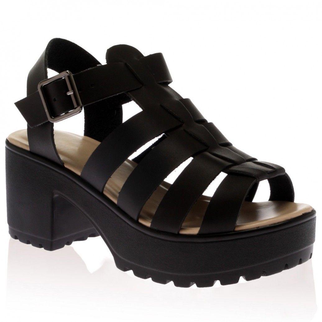 Kylie Platform Sandals in Black