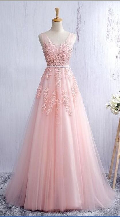 Lace Prom Dresses,Pink Lace Prom Dresses,V-neck Prom Dress,A-line ...