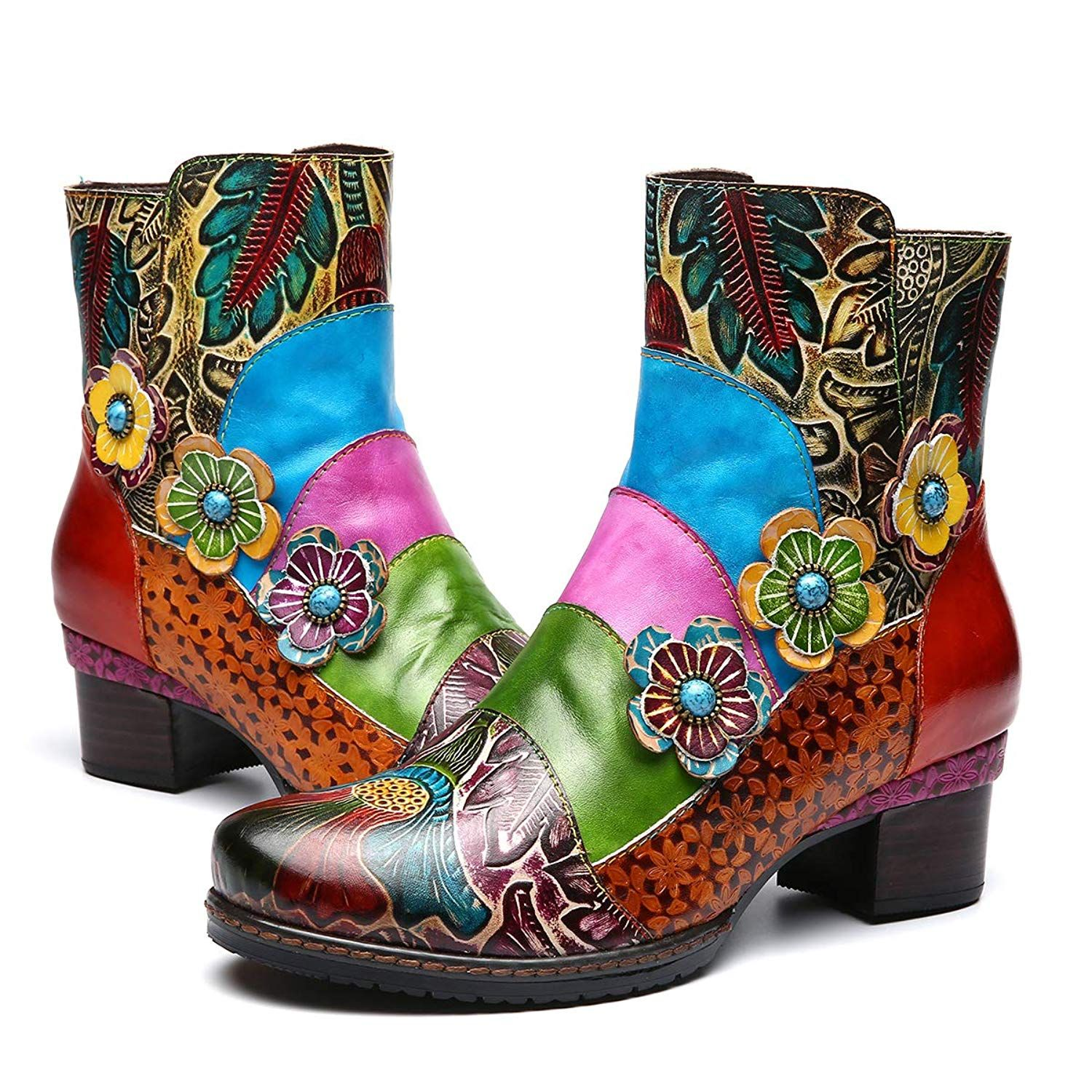 gracosy Leather Ankle Bootie Women/'s Block Heel Boots Handmade Splicing Pattern