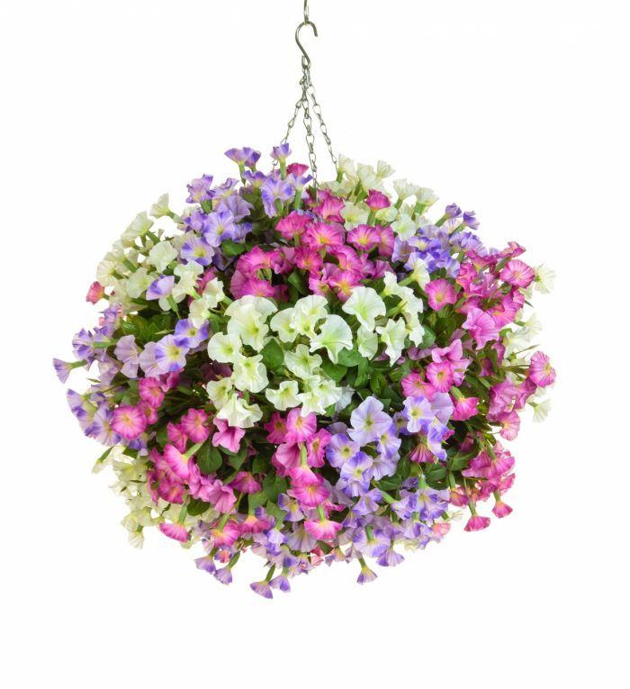 Artificial Silk Petunia Ball Deluxe Hanging Basket Just Artificial Artificial Hanging Baskets Hanging Baskets Petunia Hanging Baskets