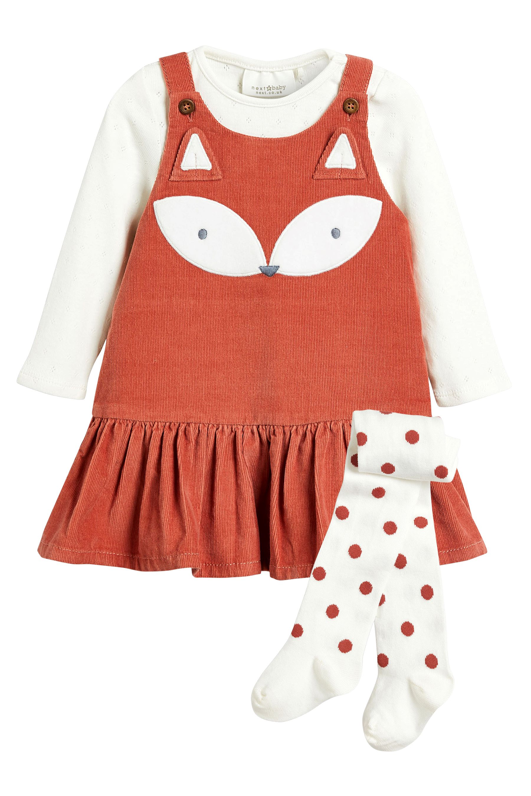 45e24cf72 Girls Next Rust Fox Cord Pini With Bodysuit And Tights (0mths-2yrs ...