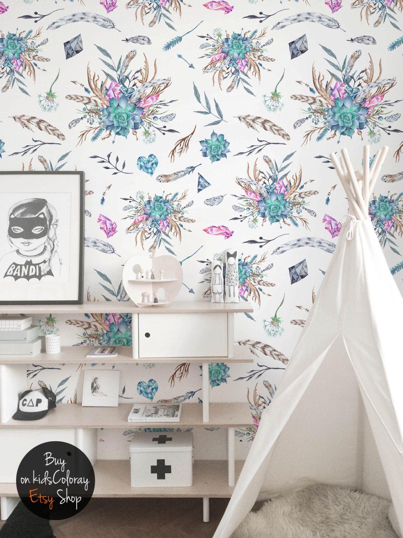 Watercolor Subtle Boho wallpaper for Nursery, Pastel