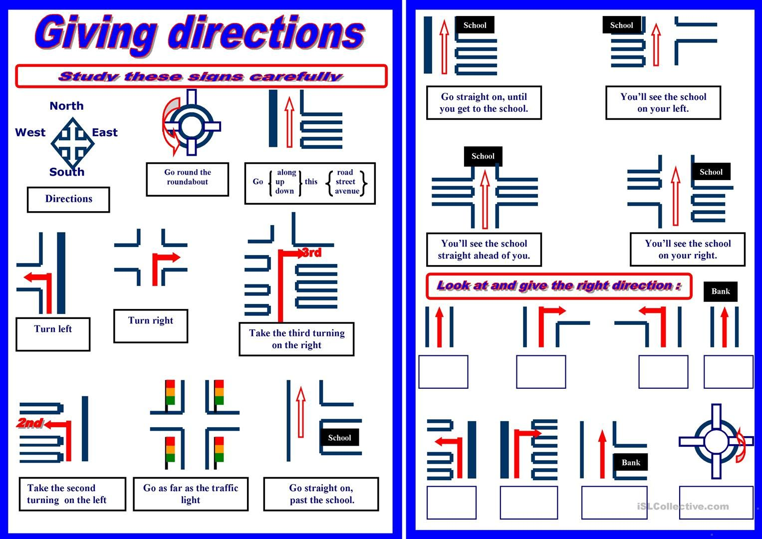 giving directions worksheet free esl printable worksheets made by teachers ingl s. Black Bedroom Furniture Sets. Home Design Ideas