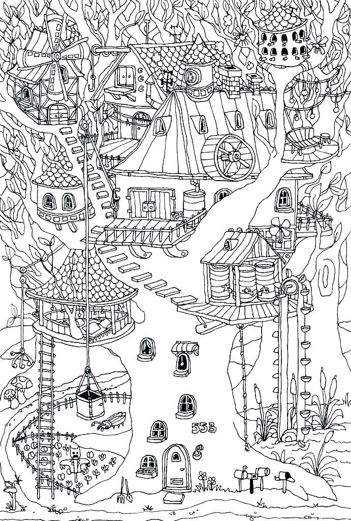 Treehouse Coloring Pages in 2020 | Coloring pages ...