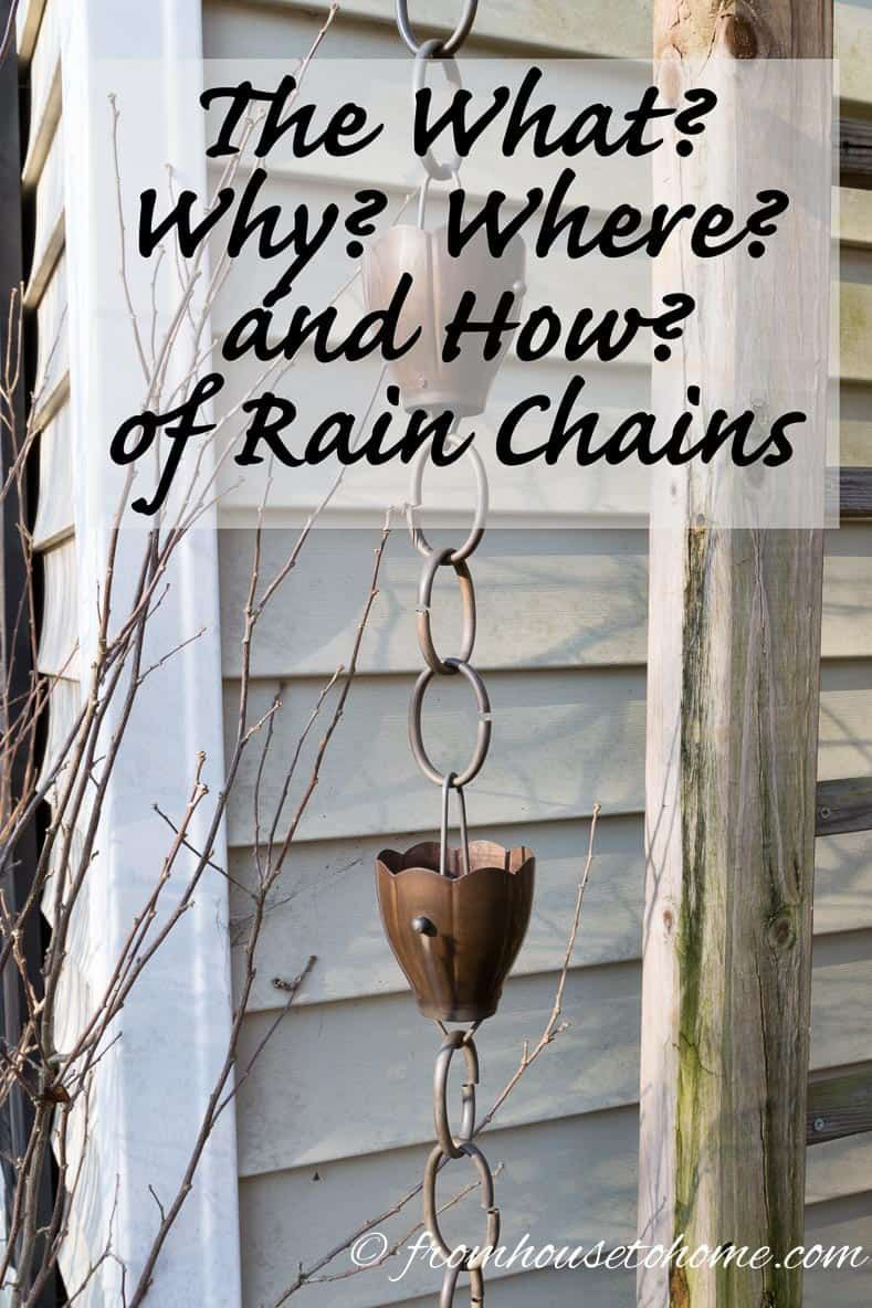 What are rain chains for? How are they installed? Do they work in heavy rain? Get the answers to these questions and more with these great rain chain garden ideas. #fromhousetohome #gardenideas #curbappeal  #rainchains #waterfeatures