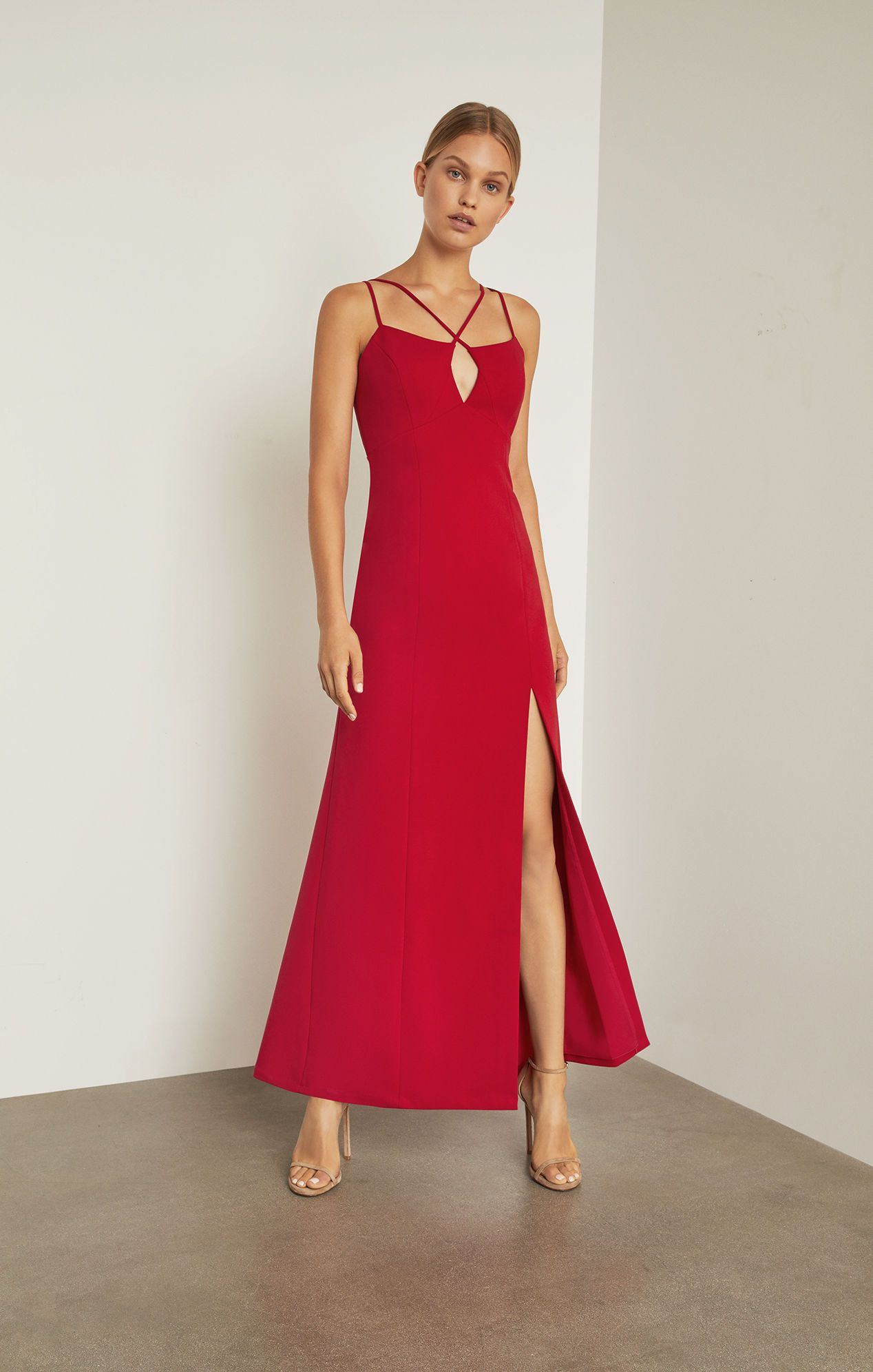 317265bfab54d4 Keyhole Strappy Gown - Red | BCBG.com | Red Carpet Dresses | Keyhole ...