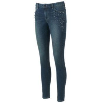 Jennifer Lopez Embellished Skinny Jeans - Petite