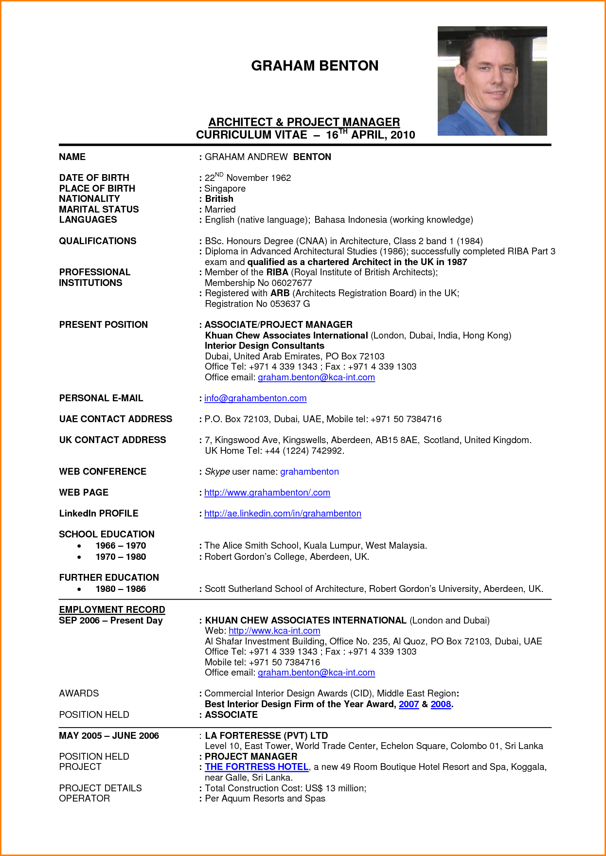 project architect sample resume safety and occupational