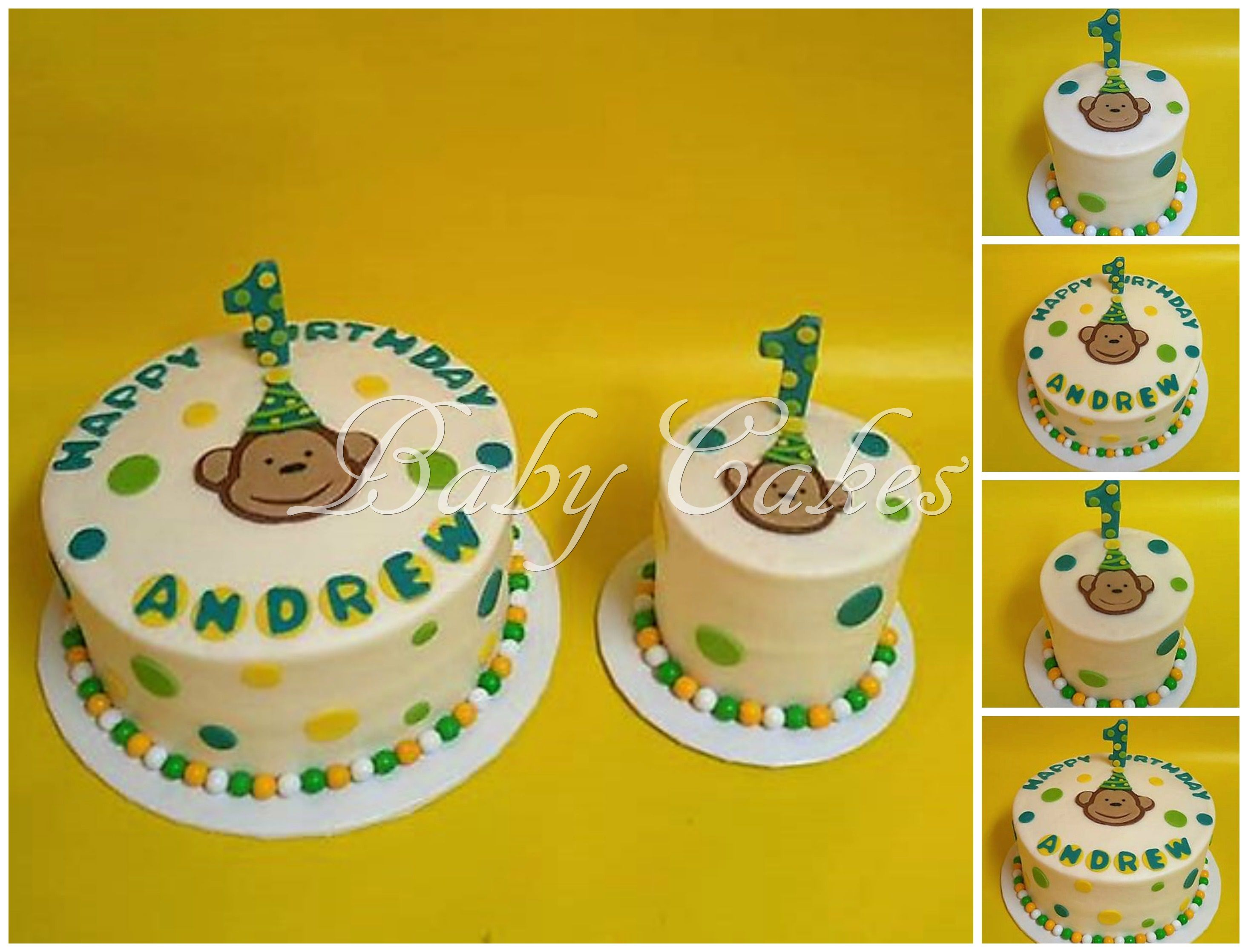Monkey Themed 1st Birthday Cake With Coordinating Smash Flavor Is Banana That One Of Our Own Special Recipes