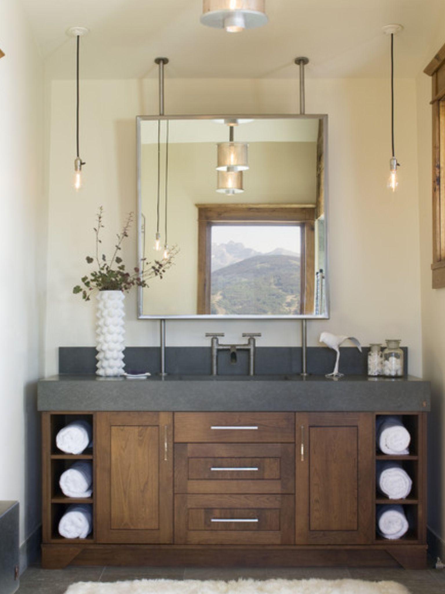 Bathroom Vanity Towel Cubbies Eclectic Bathroom Eclectic