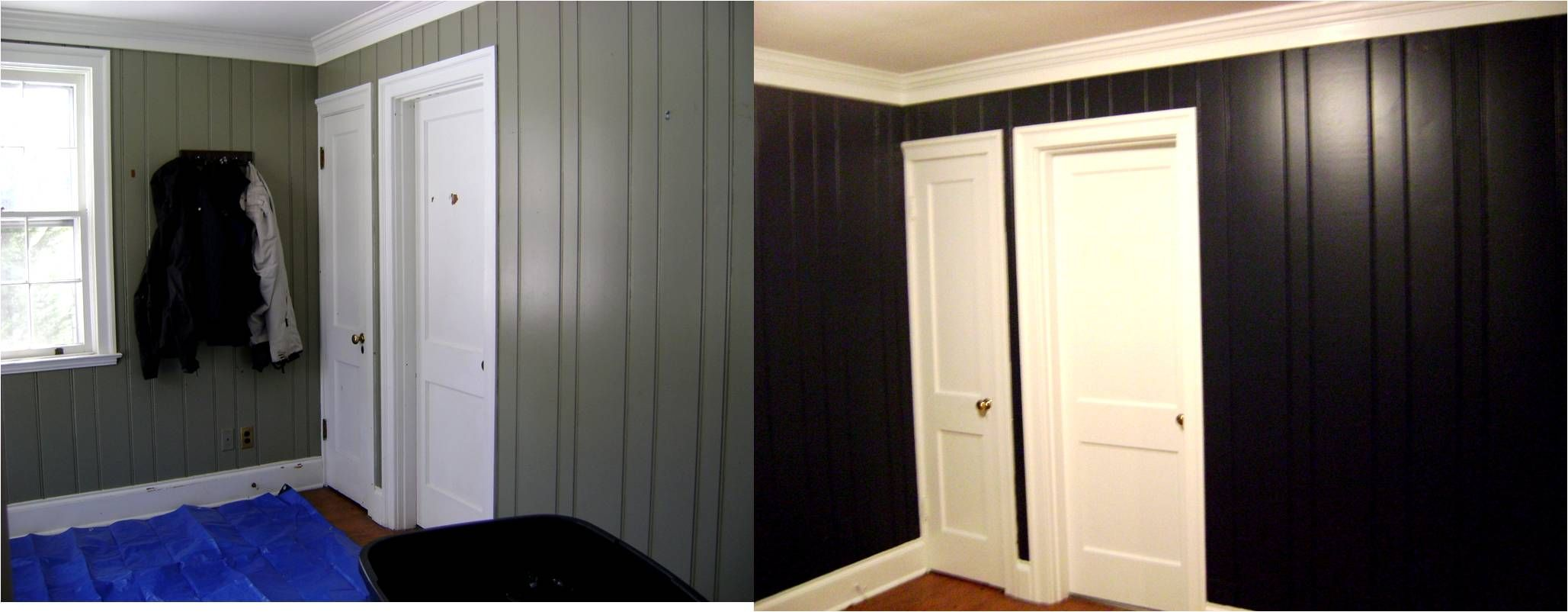The Power of Paint | Navy paint, Painting wood paneling ...