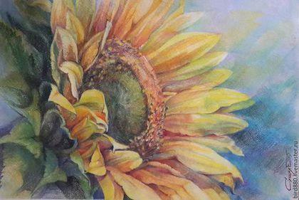 """Картины цветов ручной работы. Ярмарка Мастеров - ручная работа. Купить Авторская картина   """"Солнечный"""". Handmade. Желтый, картина для интерьера"""