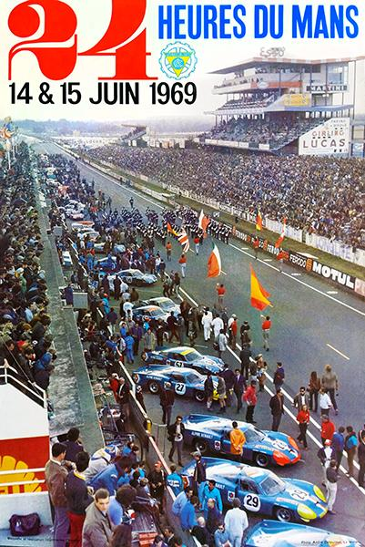 24 Du Mans Old Motor Racing Advertising  Poster reproduction