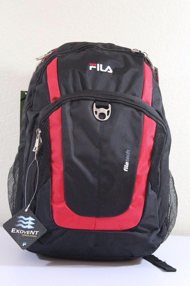 b452715b0878 FILA Men s Otis backpack Black Red 18.5
