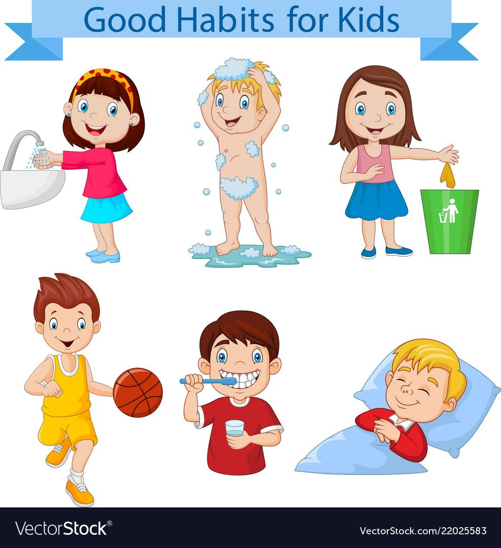 Good habits collection for kids vector image on | Good ...