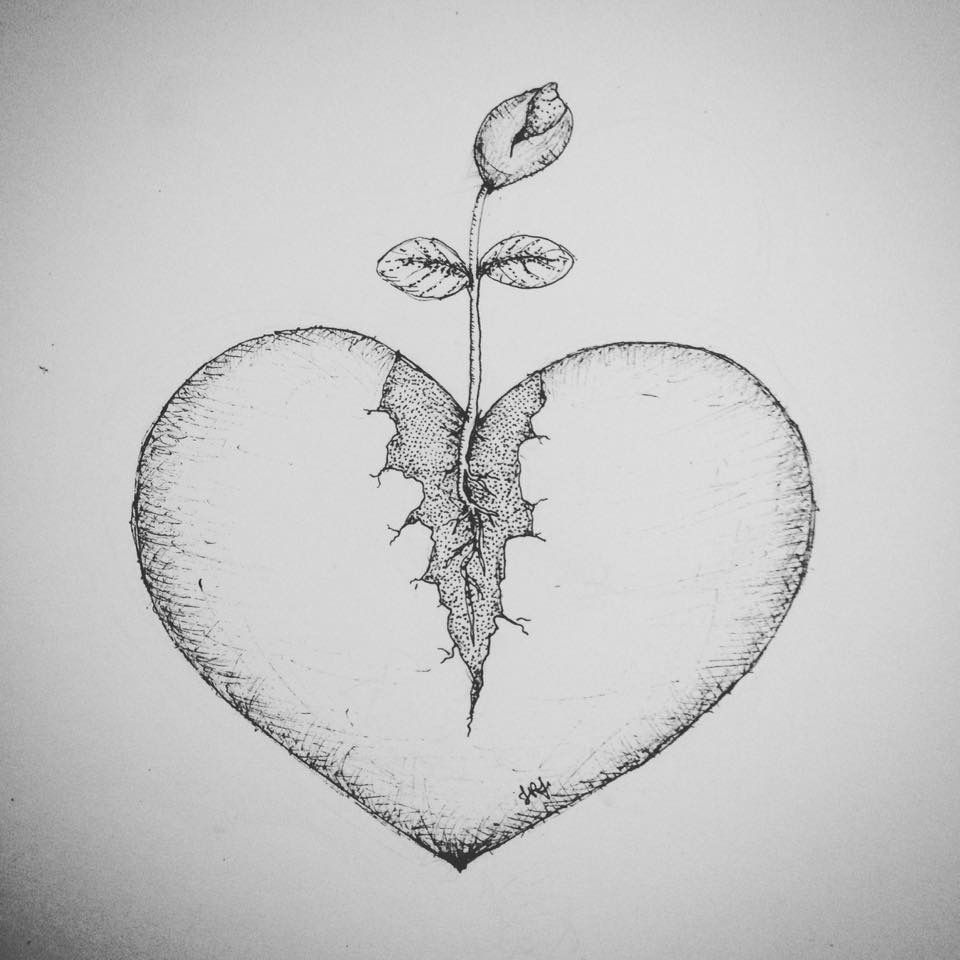 Heart Drawings: Dotwork Tattoo Design Heart With Plant Seed / Broken Heart
