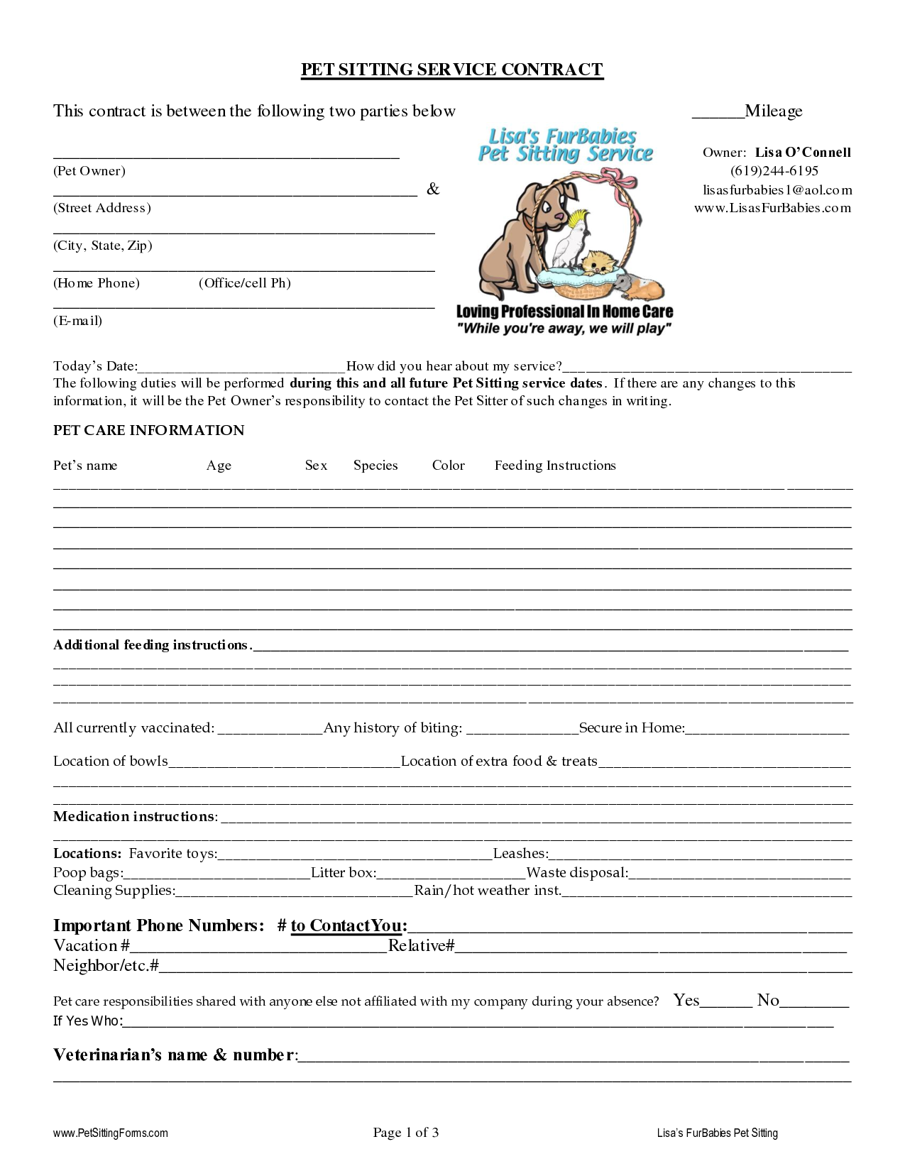 pet sitting contract templates dogs pinterest pet sitting