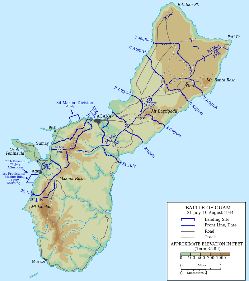 Map of the Battle of Guam, 1944 - Wikipedia:Featured pictures ...