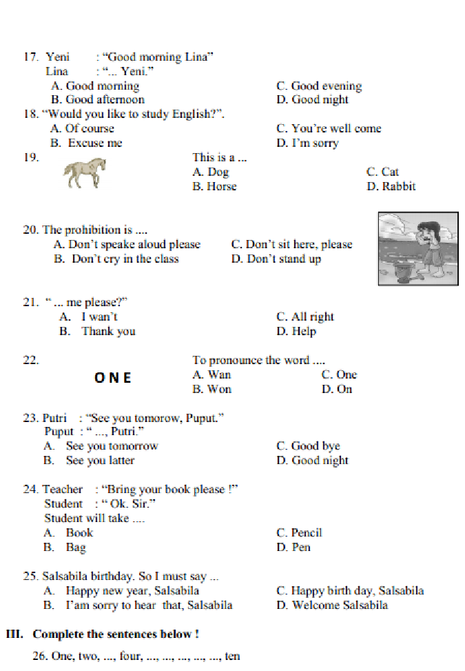 soal dan jawaban latihan uas ulangan bahasa inggris kelas