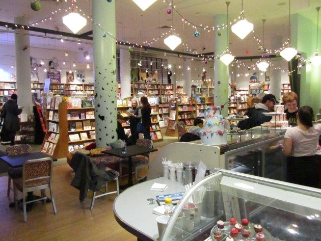 Books of Wonder.  love the tiny lights strung between the main lights.