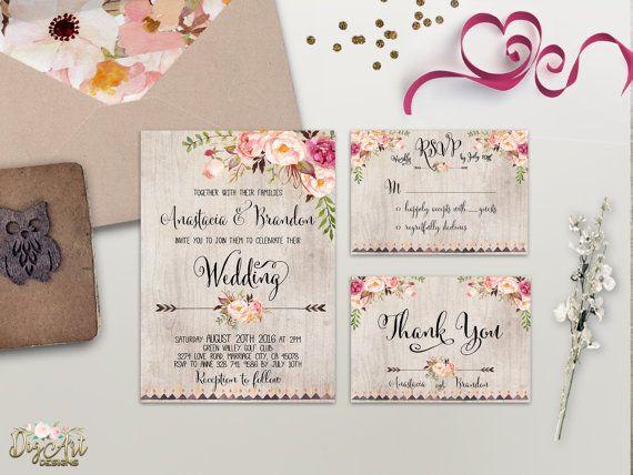 Floral Wedding Invitation Printable or Printed door DigartDesigns