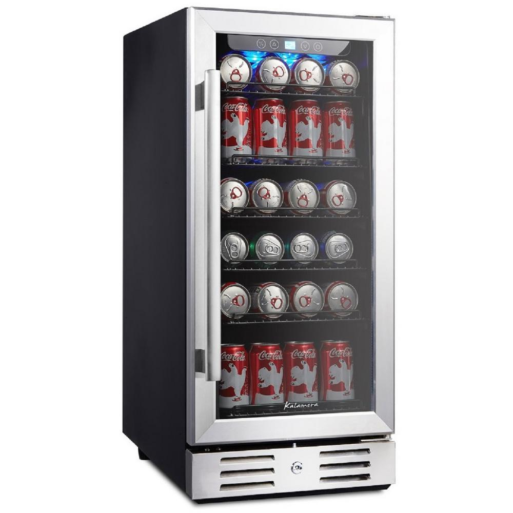 Kalamera 15 Beverage Cooler 96 Can Built In Single Zone Touch Control Krc 90bv The Home Depot Beverage Cooler Built In Wine Cooler Beverage Center